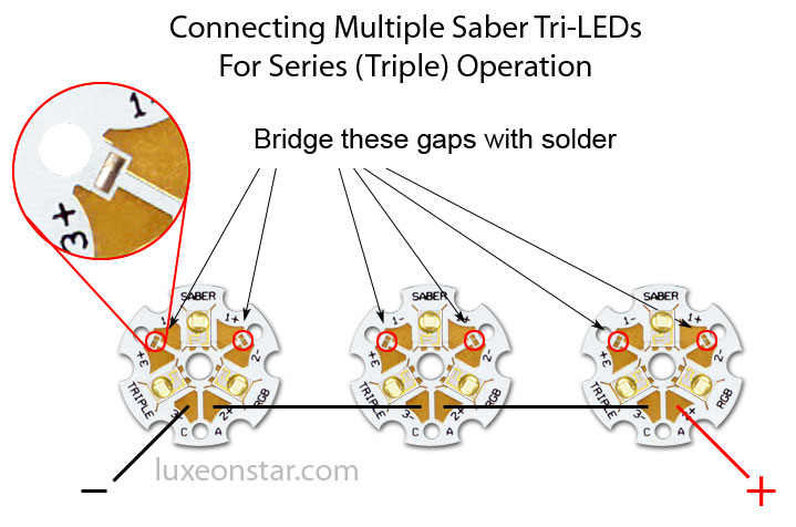 saber tri led series connection luxeon star leds tri star led series connection diagram led connection diagram at bakdesigns.co