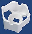 10433 - Carclo 20 mm White Hex Optic Holder - Pegged Feet