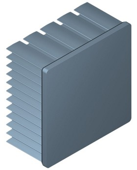 50 mm Square x 25 mm High Alpha Heat Sink - 5.3 °C/W