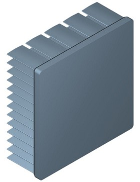 54 mm Square x 20 mm High Alpha Heat Sink - 5.5 °C/W