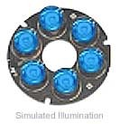 Luxeon 6 LED Ring LED - Blue Batwing, 50 lm @ 700mA