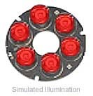 Luxeon 6 LED Ring LED - Red Lambertian, 225 lm @ 700mA