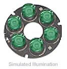 Luxeon 6 LED Ring LED - Green Batwing, 150 lm @ 700mA