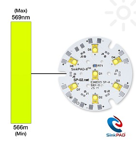 Lime (567nm) LUXEON Rebel ES LED on a SinkPAD-II 40mm Round 7-Up Base - 2191 lm @ 700mA