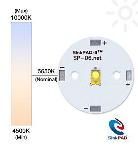 Cool White (5650K) LUXEON Rebel ES LED on a SinkPAD-II 25mm Round Base - 235 lm @ 700mA