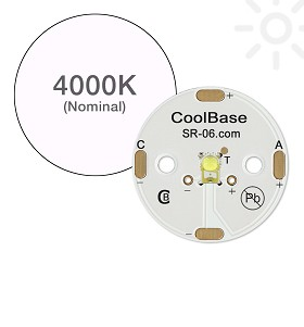 ANSI White (4000K) LUXEON Rebel Plus LED, Mounted on a 25mm Round CoolBase - 180 lm @ 700mA