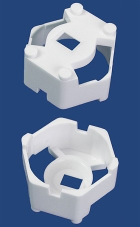 Carclo 20 mm White Hex Optic Holder - Pegged Feet