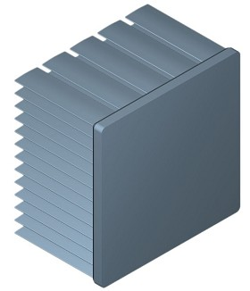 54 mm Square x 35 mm High Alpha Heat Sink - 4.3 °C/W