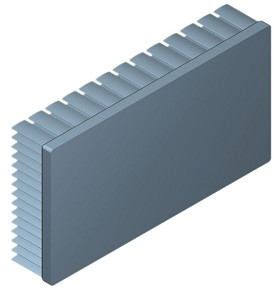 130 mm x 70 mm Rectangular 25 mm High Alpha Heat Sink - 2.2 °C/W