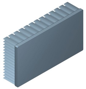 130 mm x 70 mm Rectangular 30 mm High Alpha Heat Sink - 2.1 °C/W