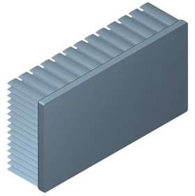 130 mm x 70 mm Rectangular 35 mm High Alpha Heat Sink - 1.9 °C/W