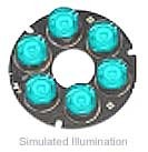 Luxeon 6 LED Ring LED - Cyan Batwing, 150 lm @ 700mA
