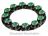 Luxeon 12 LED Ring LED - Green Batwing, 300 lm @ 700mA